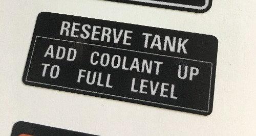 Coolant Reservoir Frame decal