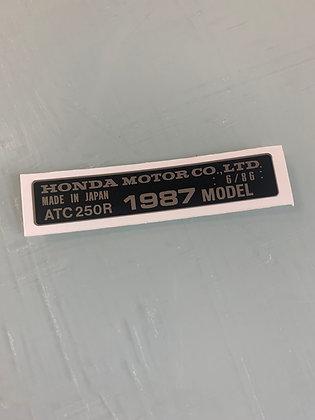 1987 ATC250R Year Decal