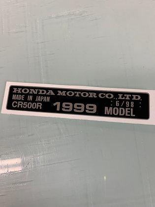 1991-1999 CR500R Frame Year Decal