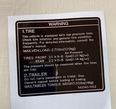 KLT Rear Fender Tire Trailer Warning