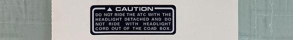 85-87 Big Red Headlight Cord Warning