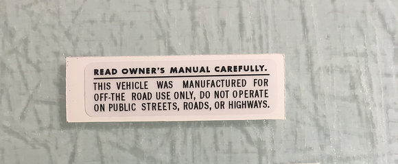 Owners manual decal on clear