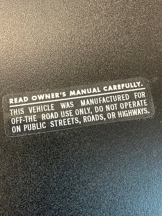 Owners manual decal on clear White
