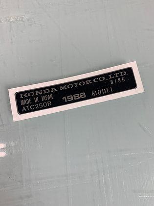 1986 ATC250R Year Frame Tag Chrome