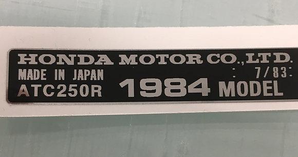 1984 ATC250R Year Frame Tag Chrome