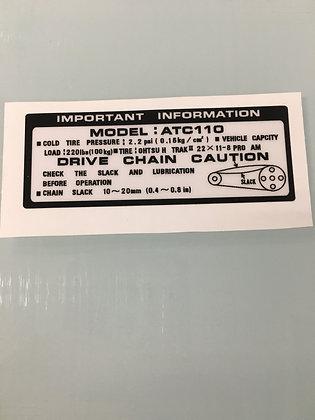 ATC110 Tank Warning White