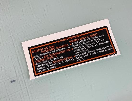 1986 ATC125M Tank Warning