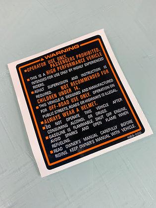 1986 TRX250R Fender Warning