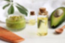 Home spa. Avocado oil facial mask, oil i