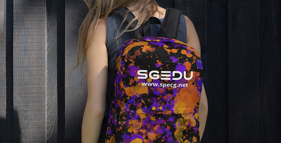 SGEDU Orange-Purple Paint Splatter Backpack