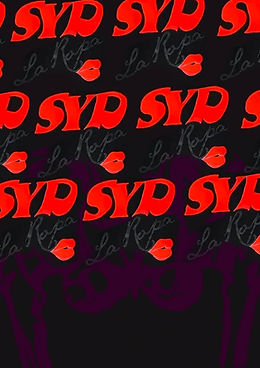 - Repeated 'Syd' text in red across black poster for Sydney Pop Up by ACC Studio