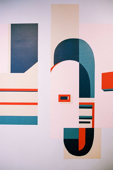Detail of Coolmac graphic mural by ar–chive: Minimal architectural arch and mailbox from Kirribilli in red, navy and pink