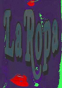 Purple and grey distorted poster with 'La Ropa' title