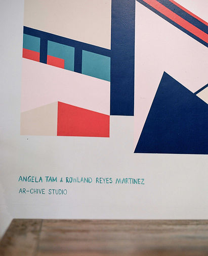 Detail of Coolmac graphic mural by ar–chive: Minimal architectural structures and signature