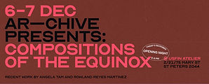 Bold 'Compositions of the Equinox' exhibition invitation design with pink and black typography on crimson background
