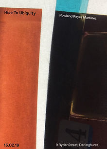 Exhibition poster, collaged with orange, blue and black vertically aligned rectangles in resemblance of a film negative