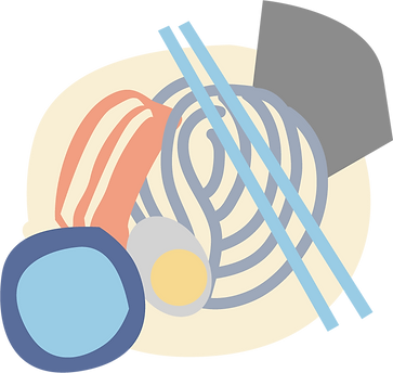 Graphic neutral tone illustration of tsukemen