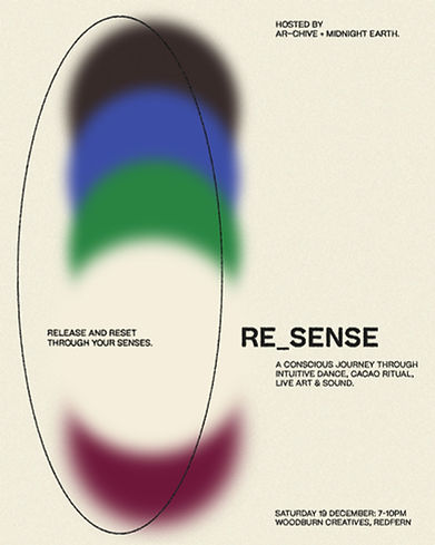 Poster design with blurred colours for RE_SENSE event on maroon background by interdisciplinary studio, ar–chive