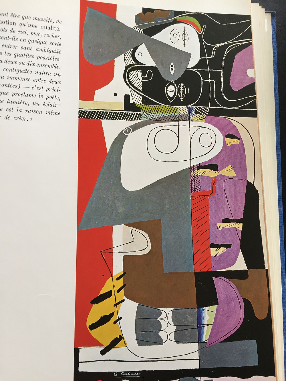 Page from book: colourful block illustration with fine lines