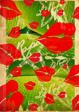 Green snake skin print and red lips layered on a poster by ar–chive studio