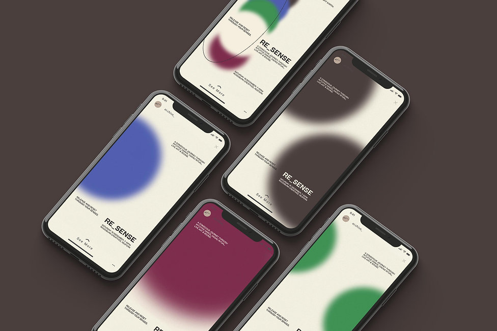 Digital mockup with 5 iPhones on brown background: Each screen has an individual design with one colour from RE_SENSE poster