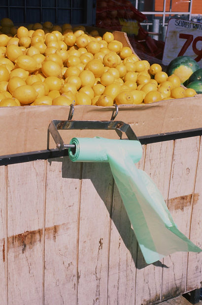Green plastic bag moves in the breeze below tray of lemons