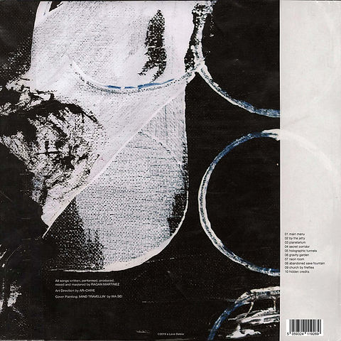 Back album cover for Ragan Martinez with black and white abstract artwork by wa sei