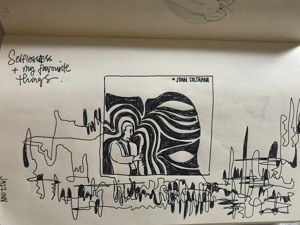 Sketchbook page: Sketch of John Coltrane album cover with black line squiggles on page.