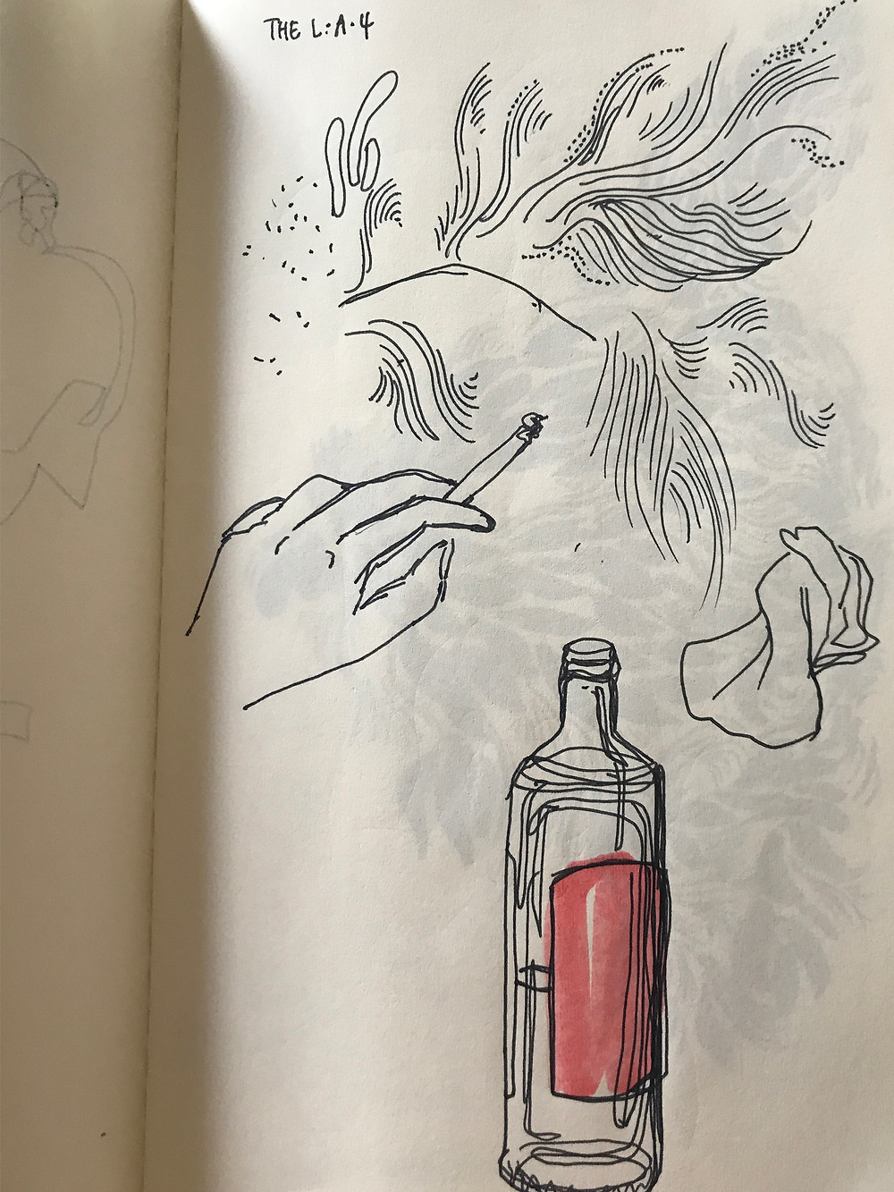 Sketchbook page: wavy lines, hand with cigarette, continuous line drawing of whiskey bottle