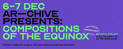 Bold 'Compositions of the Equinox' exhibition invitation design with lime green and black typography on purple background