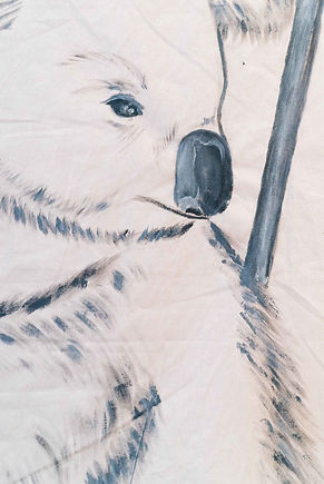 Face detail of koala painting: acrylic on calico by inter-disciplinary studio, ar–chive