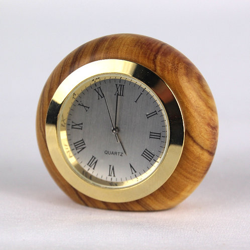 Olive Wood Clock - Gold - Whiteface Roman Numerals