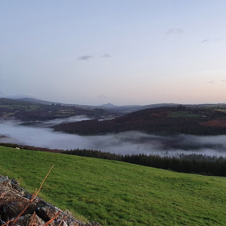 Clara Vale above the fog looking back towards Laragh and Glendalough
