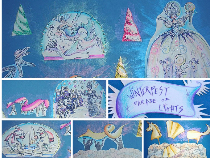 A winter snowglobe parade. Led lights create a 2D dome frame while LED costumed character trees on rollerskates glide between featured acts and floats.