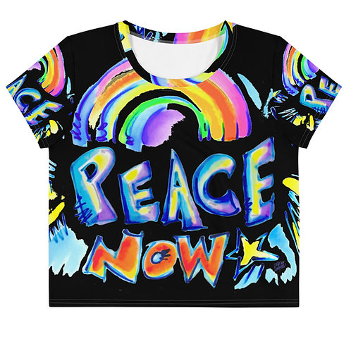 PEACE NOW- All-Over Print Crop Tee