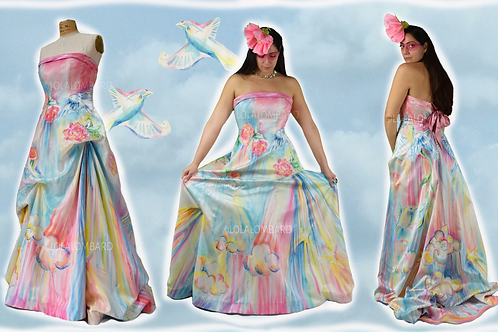 HAND PAINTED BIRD GOWN