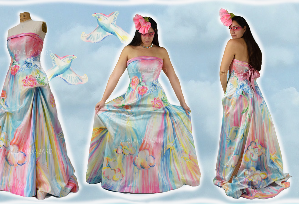 Bird gown - wearable painting by Lola Lombard