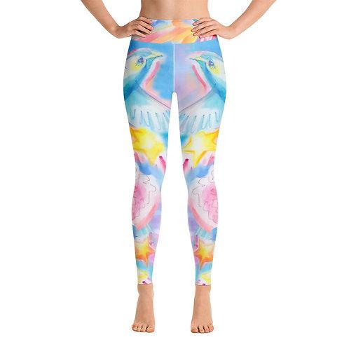 BIRD AND FLOWERS - All-Over Print Yoga Leggings