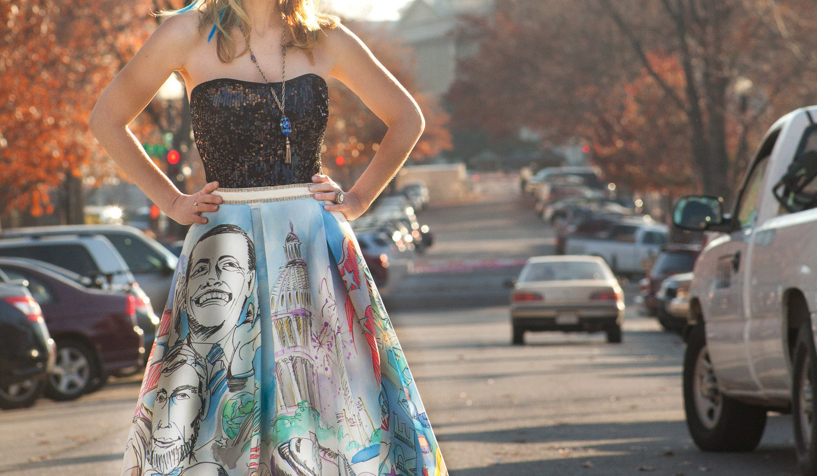 Obama Gown hand painted by expressive ar