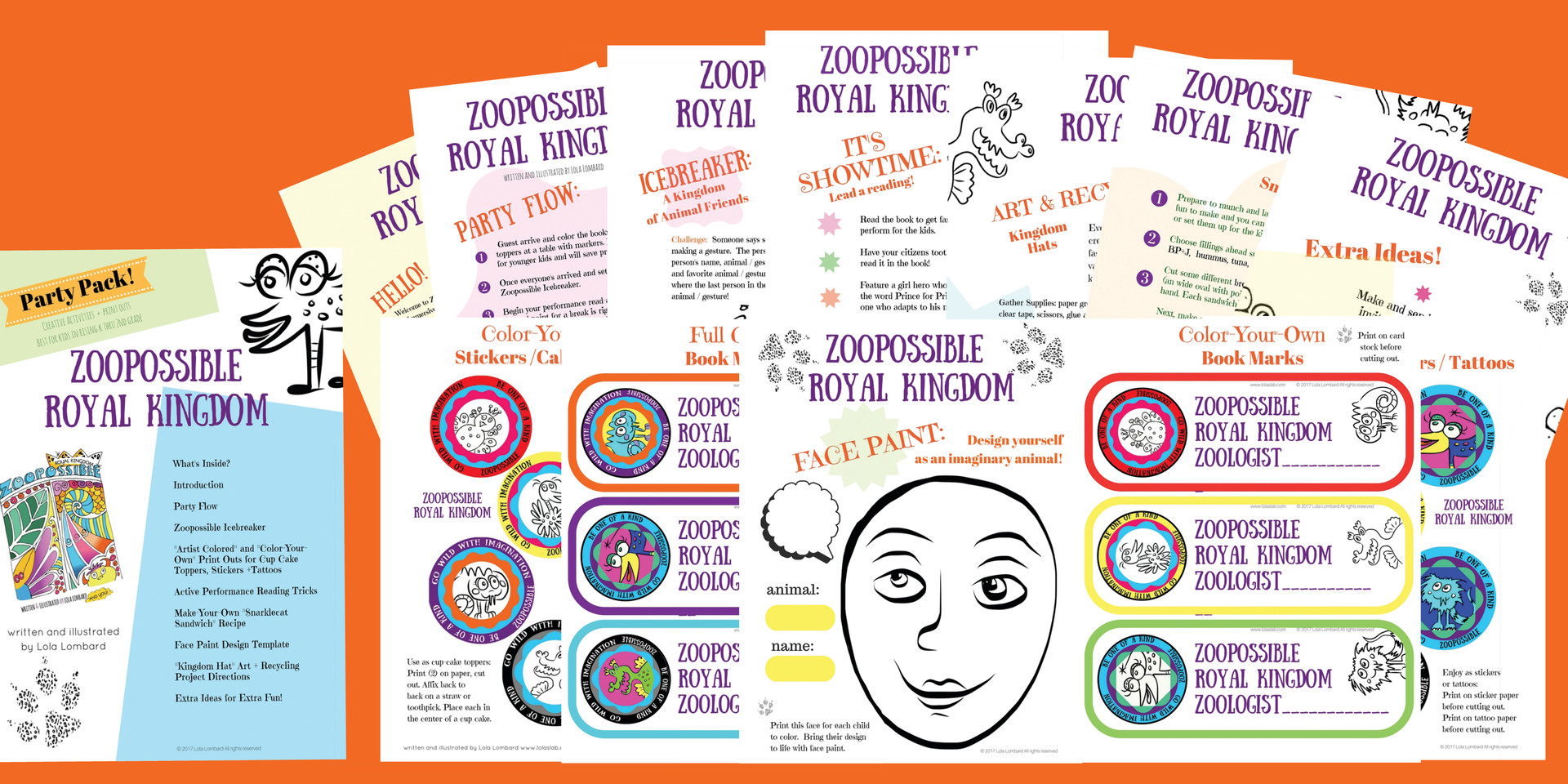 A collection of illustrated activities and printables for turning my first book Zoopossible Royal Kingdom into party time fun!