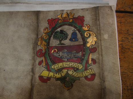 Reverse of the certificate showing the coat of arms of Glasgow