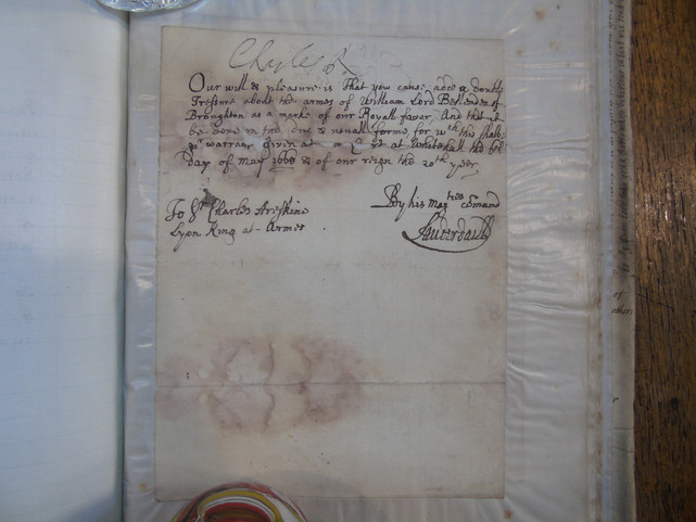 A letter from Charles II requesting a change to the coat of arms of William Bellenden, the Treasurer-Depute of Scotland