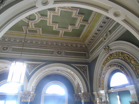 Ornamental plasterwork on ceiling in the main library
