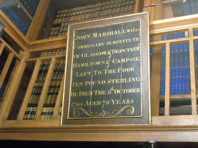 Mortification board dedicated to John Marshall