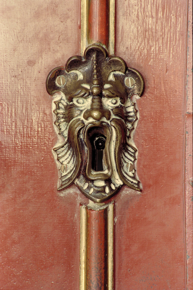 Keyhole on the door to the main library