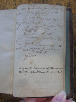 Back page of the Explicatio featuring the signature of Laurence Hill, the great-great-grandson of Thomas Hutcheson