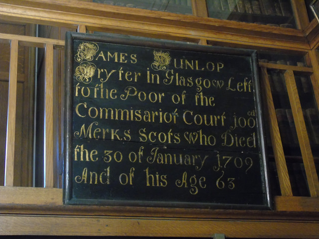Mortification board dedicated to James Dunlop