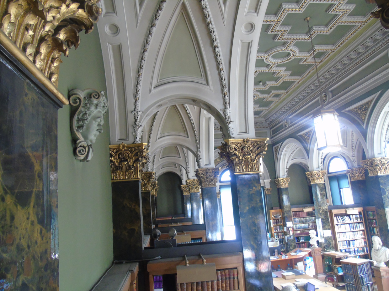 The main library, featuring the plaster head of Robert Blair