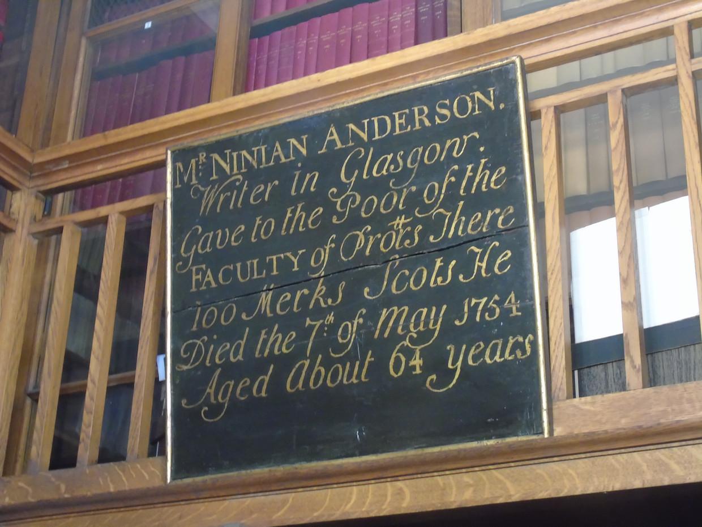 Mortification board dedicated to Ninian Anderson