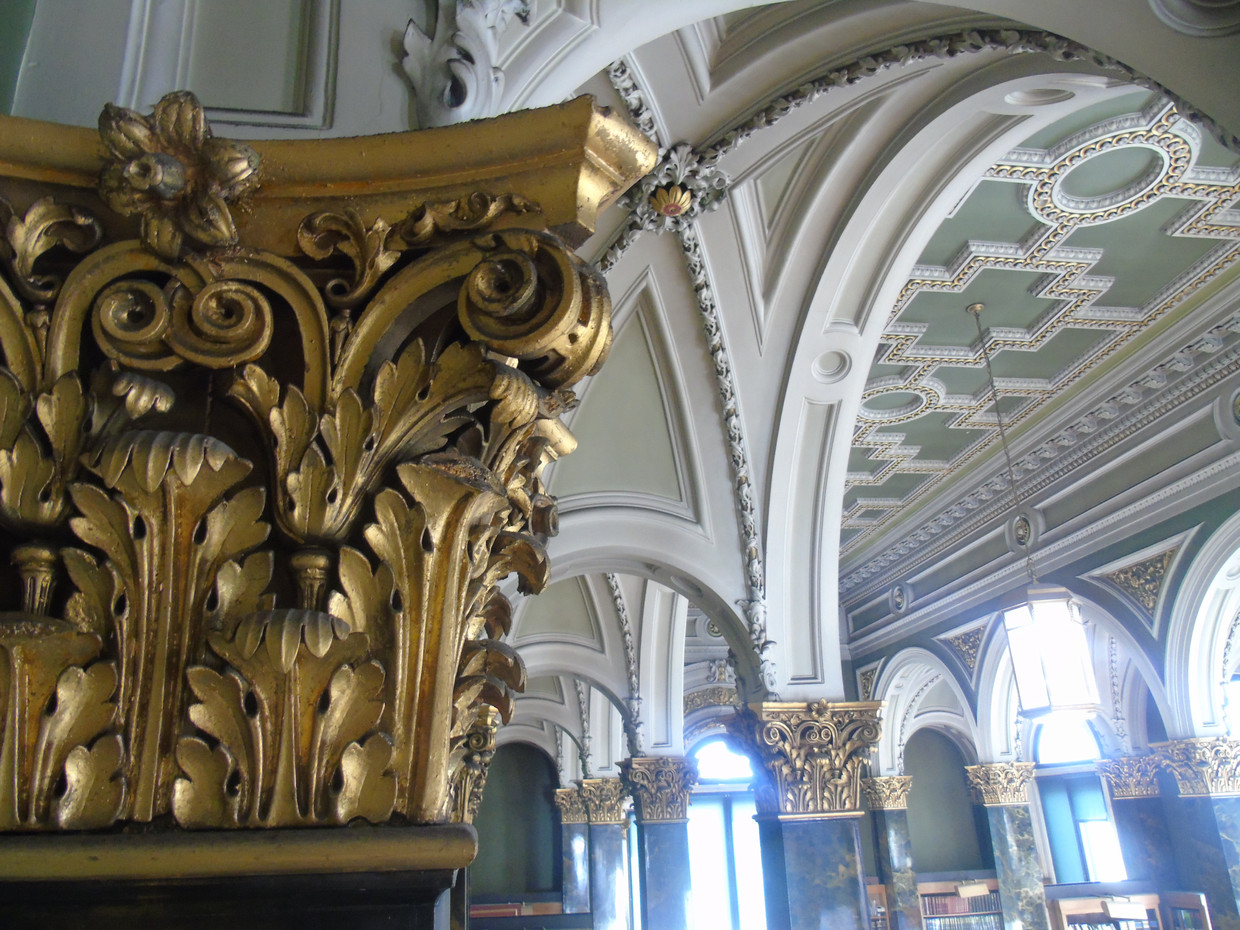 Plasterwork corinthian capital in the main library